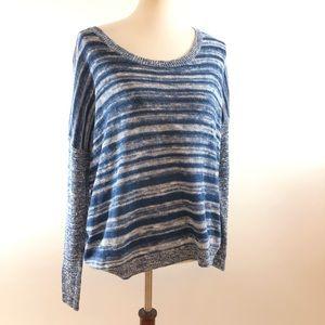 Eileen Fisher Blue Striped Linen Blend Sweater